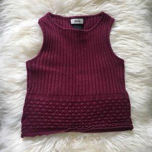 Vintage   burgundy knit crop top   XS